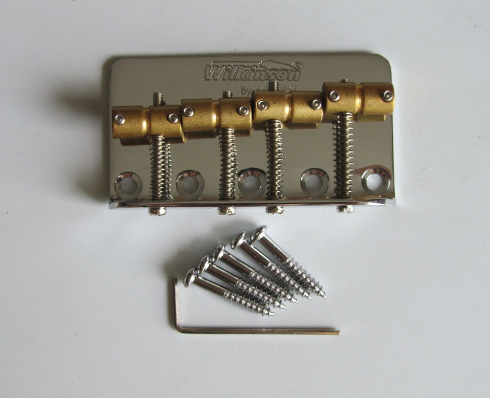 Quality Wilkinson Bass Bridge w/ Brass Saddles fits P Precision Bass JB Chrome(China)
