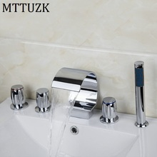 MTTUZK Widespread Waterfall Roman Deck Mounted 5pcs Bath Tub Tap Faucet Set Combo Handheld Shower Torneira Tap Polished Chrome(China)
