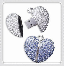 Bestselling full capacity 64gb 4gb 8gb 16gb 32gb crystal heart-shaped necklace usb flash drive memory stick u disk pen driveS46(China)