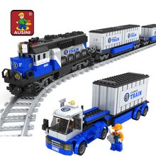 AUSINI 25111 1008pcs Railway Trains Toys Big Enlighten Train Building Blocks Toys for Kids Educational Gift(China)