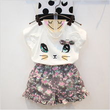 2016 Summer Girls Fashion Clothing Sets Bow Cat Shirt And Flower Short Pants Suits Teen Girl Garment Kids Shorts Sets Outfits(China)