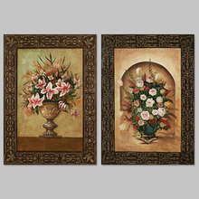2pcs/set Vase still life pictures decoration Flower arrangement Rose Canvas Painting wall Art Peach blossom living room unframed
