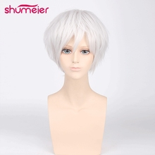 Shumeier Men Short Synthetic Hair Black Wig Anime Cosplay Wig High Temperature Fiber