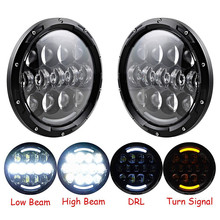 Black 7'' Round 105W High Power led headlights LED White DRL Yellow Turn signal for Jeep Wrangler JK CJ FJ Cruiser(China)