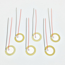 "6 pieces 20mm / 27mm Pickup Piezo Disc Elements with 10cm (4"") Leads Cigar Box Guitar Pickup Repair Luthier Tool(China)"