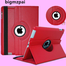 Free shipping Pu Leather 360 Rotating Protector cover Smart Stand case cover For APPLE iPad 2 ipad 3 ipad 4 Tablet Case+pen+Film(China)