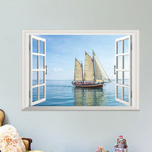Fashion 3D Sea Boat Window View Wall Art Stickers Vinyl Decal Removable Home Decorations