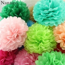 5pcs 10 inch (25cm) Tissue Paper Pom Poms Artificial Paper Flower Ball For Wedding Home Party Decoration Garden Supplies(China)