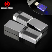 Customizable logo!100% Genuine Full Capacity USB Disk 4GB 8GB 16GB 32GB Metal crystal flash drive memory pen disk with LED light