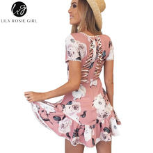 Lily Rosie Girl Sexy Hollow Out Backless Women Dress 2017 Autumn Boho Print Mini Beach Pink Dress O Neck Short Sleeve Vestidos