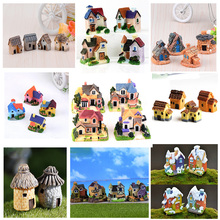 Big House Villa Figure decorative mini fairy garden cartoon Building statue jardin miniature Moss ornaments resin craft(China)