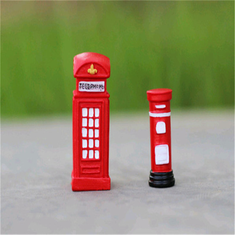 HEY FUNNY 2pcs British style telephone booth mailbox moss resin ornaments and more meat micro landscape ecology bottle DIY Toys(China (Mainland))