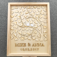 Personalised Wedding Guest book, Custom Drop top Drop box wedding alternative GuestBook with 60-100 hearts, Rustic Wedding Gift