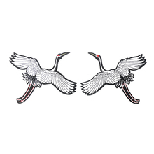 1 Pair Red-crowned crane Embroidery Sew Iron On Patch Badge Clothes Fabric Transfers Lace Trim Applique Bird DIY Accessories(China)