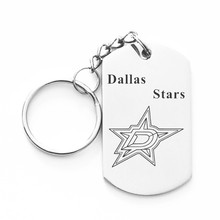 2017 New NHL Dallas Stars LOGO Dog Charms Tag Keychain Stainless Steel Key Rings For Ice Hockey Fans Key Chain , Dropshipping!