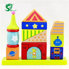 wooden toys for children Princess garden robot blocks Set column set high tower blocks folding educational toys oyuncak(China)