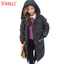 Woman Long Jackets Hooded Coat 2016 New Winter Korean Down Jacke Plus Size M-4XL Black Gray Overcoat Super Warm Loose Coat G343