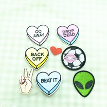 7pcs Iron On Fabric Applique Patches Souarts Solid Mixed Football Go Away Back Off Hearts Shaped Embroidered Sew Iron On Patch(China)
