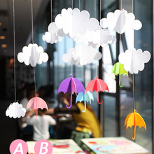 3D Cloud Umbrella Flags Garland Floral Bunting Banners Kids Birthday/Wedding Party Decoration Supplies Child's Room Banner Deco