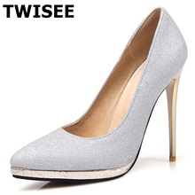 TWISEE Wedding shoes Sexy Stiletto High heels Shoes Pointed Toe Pumps Shoes V shaped bevel Pointed toe Woman Shoes Gold Silver