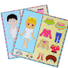1 Set Baby Kids Boys and Girls Dress Up Changing Clothes Wooden Jigsaw Puzzles Board for Children Educational Fun Christmas Toys(China)