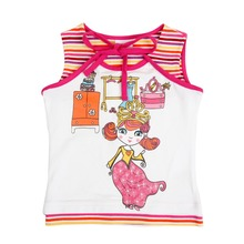 Nova kids clothes 2015 new arrival stylish design with little girl pattern print high quality cheap sale girls vest