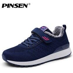 PINSEN/2019; сезон осень-зима; кроссовки; женская повседневная обувь; обувь на плоской подошве со шнуровкой; женские плюшевые теплые кроссовки; ...