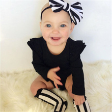 Cute 3Pcs Baby Girl Clothes Set Fall Cotton Newborn Baby Girl Bodysuit+Long Socks+Headband 2017 New Bebes Girls Clothing Outfits(China)