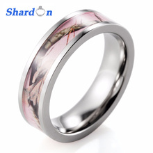 SHARDON Women Ring Titanium Pink Real tree Camo Ring Camouflage Engagement ring wedding band women's jewelry(China)