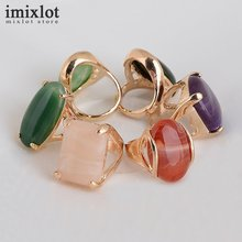 Imixlot 10PCS Mix Design Natural Stone Rings For Women Gold-color Vintage Faux Gems Stone Wedding Rings Fashion Jewelry(China)