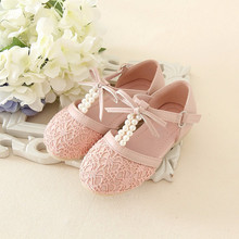 2016 spring and summer New Fashion Kids Pink and Ivory Pearl Flower Girls Shoes Bow Sandals Princess Shoes Girls Party Shoes