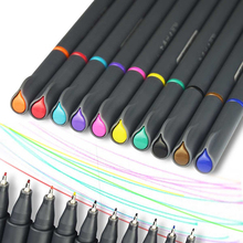10 Pcs/Lot Color Drawing Pen 0.38mm Art Markers Fine Line Design Water-color Pens Micron Stylo Stationery School Supplies(China)