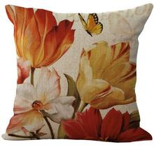 45*45 Cm Home Decorative Retro Sunflower Flower Linen Cotton Throw Cushion Cover Pillow Case For Office Chair(China)