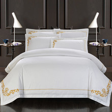 Svetanya Cotton Tribute Silk White Bedding Set Yellow Embroidered Hotel Duvet Cover Set King Queen Size with Bedsheet Pillowcase(China)