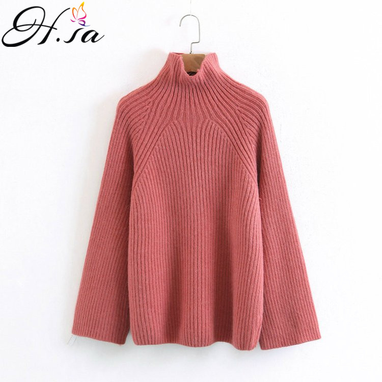 H.SA Women Turtleneck Sweater and Pullovers Autumn Winter Oversized Sweater Jumper Solid cashmere pullover feminino 2017 pull