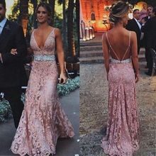 Evening Dress Blush Pink Lace Evening Dresses Long Deep V-Neck Spaghetti Straps Open Back 2017 Prom Praty Dresses