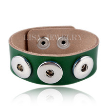 "Dark green Real Leather Bracelet Base Band Fits Metal Snap Press Buttons 24cm x 2.4cm(9 4/8""x1"")"