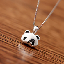 925 Sterling Silver with Platinum Plated Cute Panda Pendant Necklace Women Fashion Brand Jewelry Free Shipping (SN112)