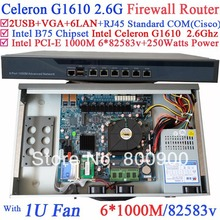 Celeron G1610 industrial 1U firewall server barebone system with 6*1000M 82583v Lan Wayos PFSense Mikrotik Panabit ROS support(China)