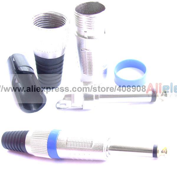 10pcs/lot Male 1/4inch Mono 6.35mm Plug for Mic Microphone Speaker<br><br>Aliexpress