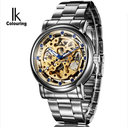 Original IK Colouring Male Clock Stainles Steel Band Skeleton Dial Automatic Mechanical Wrist Watch Men Heren Horloges<br>