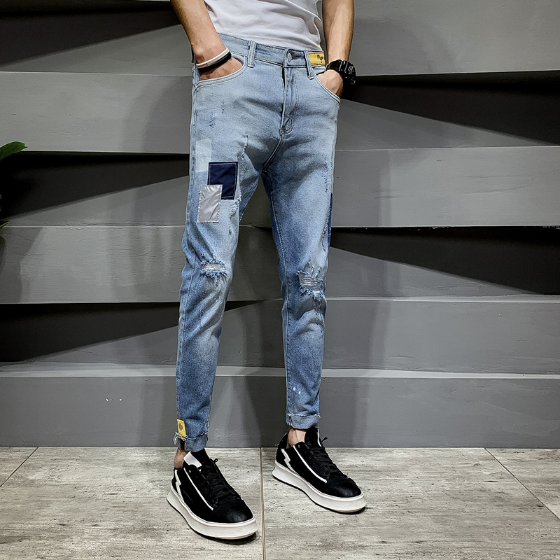 Hole jeans men's tide brand Slim 9 points feet pants Korean version of the trend of summer thin section casual nine points pants