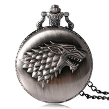 2016 Antique Game of Thrones Strak Family Crest Winter is Coming Design Pocket Watch Unique Gifts Unisex Fob Clock