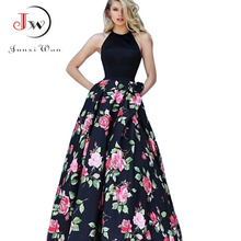 Buy Women Summer Long Dress Sexy Halter Floral Print Maxi Dress Vestidos Black White Party Dresses Plus Size Elegant Vintage Dresses
