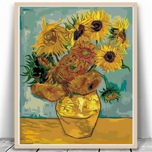 Sunflowers Vincent van Gogh DIY Digital Paint Print Poster Oil Painting Number Digital Canva Wall Picture Bedroom Cafe Bar Decor