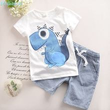 Summer boy clothes, 2017 fashion children's clothing, 100% sets of pure cotton t-shirts + shorts, toddler children, roupas babie(China)