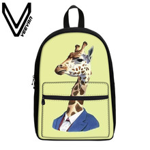 VEEVANV Brand 2017 Giraffe Image Book Backpacks Canvas 3D Prints Backpacks School Students Backpack Children Study Shoulder Bags