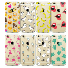 Cartoon Animals Unicorn Emoji Case for capinhas iphone 7 Plus 5 5SE 6S 6 iphone7 Soft Silicone Rubber Case Flamingo Accessories