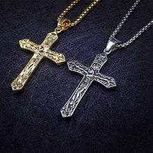 2018 Laser Engrave Custom Name Jesus Cross Men Necklace Jewelry Stainless Steel Pendant Religious Vintage Choker Male Gift(China)