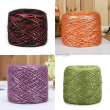 4 pcs Sequins Wool Yarn Fine Knitting Wool Mohair Crochet Yarn for Sweater Scarf Weave Thread Mixed Color Fancy Yarns 23 Colors